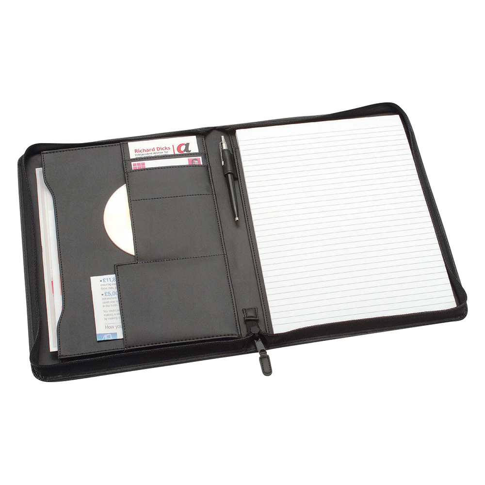 Business Zipped Conference Folder Capacity 20mm A4 Leather Look 248mm x 329mm Black