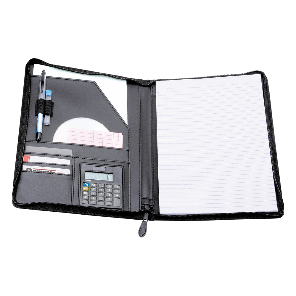 Business Premium Zipped Conference Folder with Calculator A4 Leather Look Black
