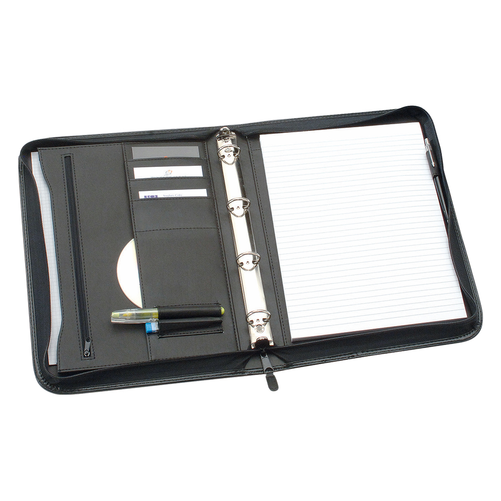 Business Zipped Conference Ring Binder Capacity 25mm Leather Look A4 Black