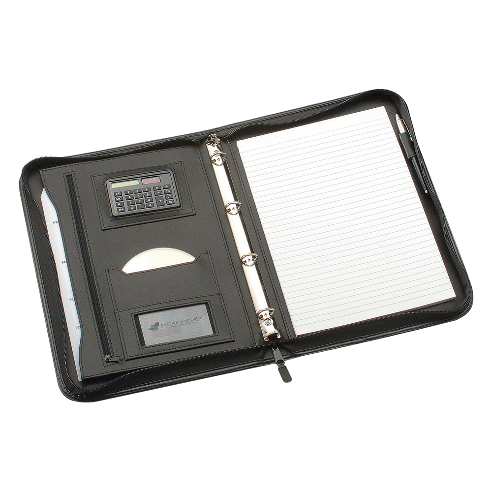 Business Zipped Conference Ring Binder with Calculator Capacity 30mm Leather Look A4 Black