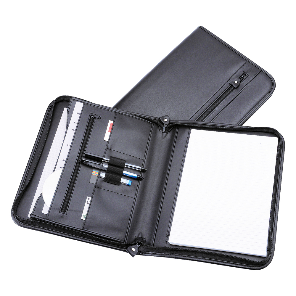 Business Zipped Conference Folder Capacity 20mm A4 Leather Look 290mm x 360mm Black