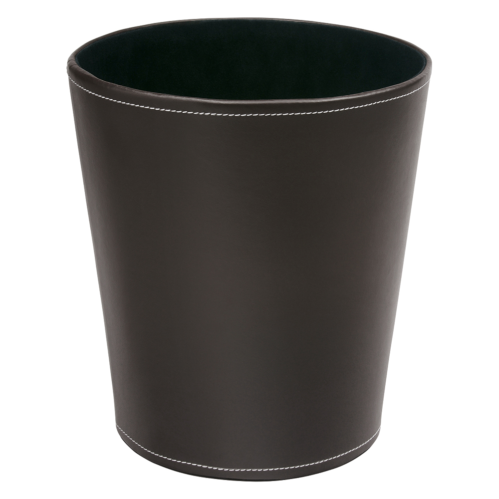 Business Premium Waste Bin Faux Leather Brown