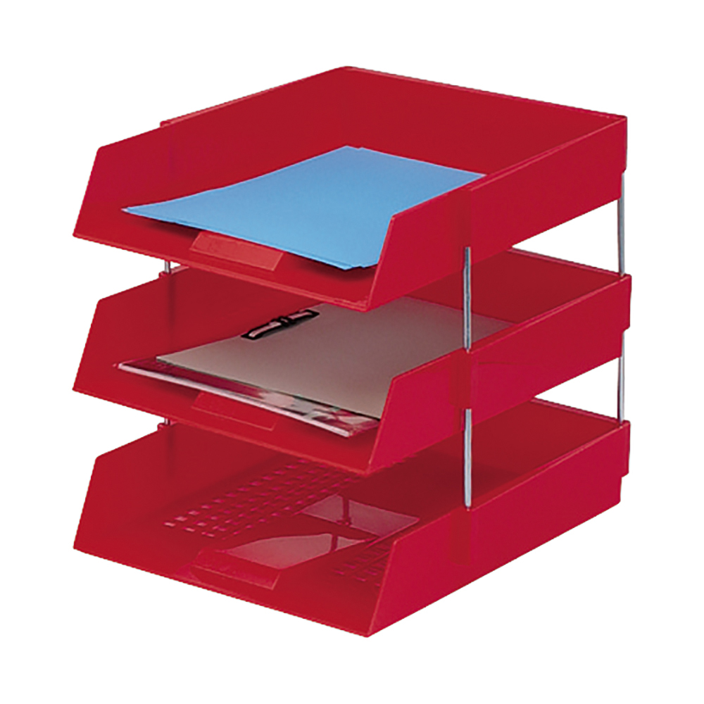 Business Letter Tray High-impact Polystyrene Foolscap Red
