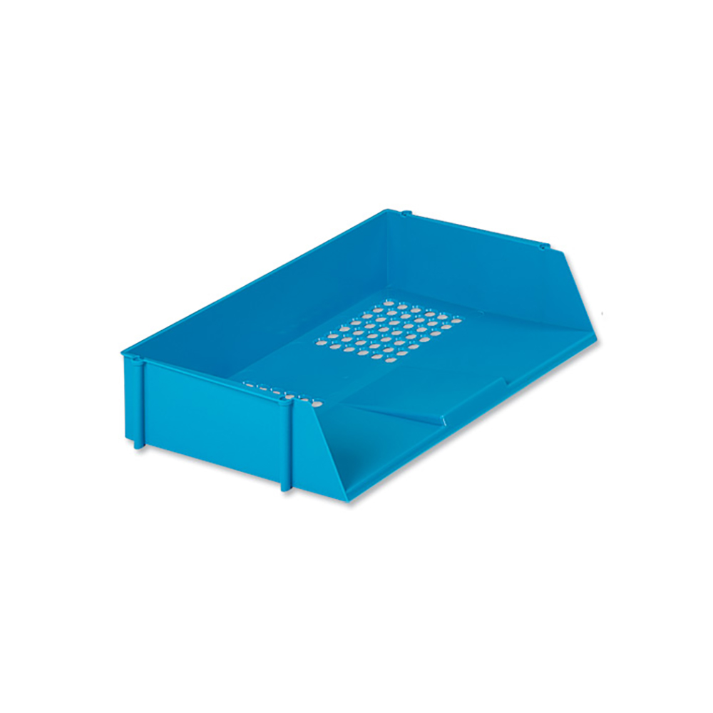 Business Letter Tray Wide Entry High-impact Polystyrene Stackable Blue