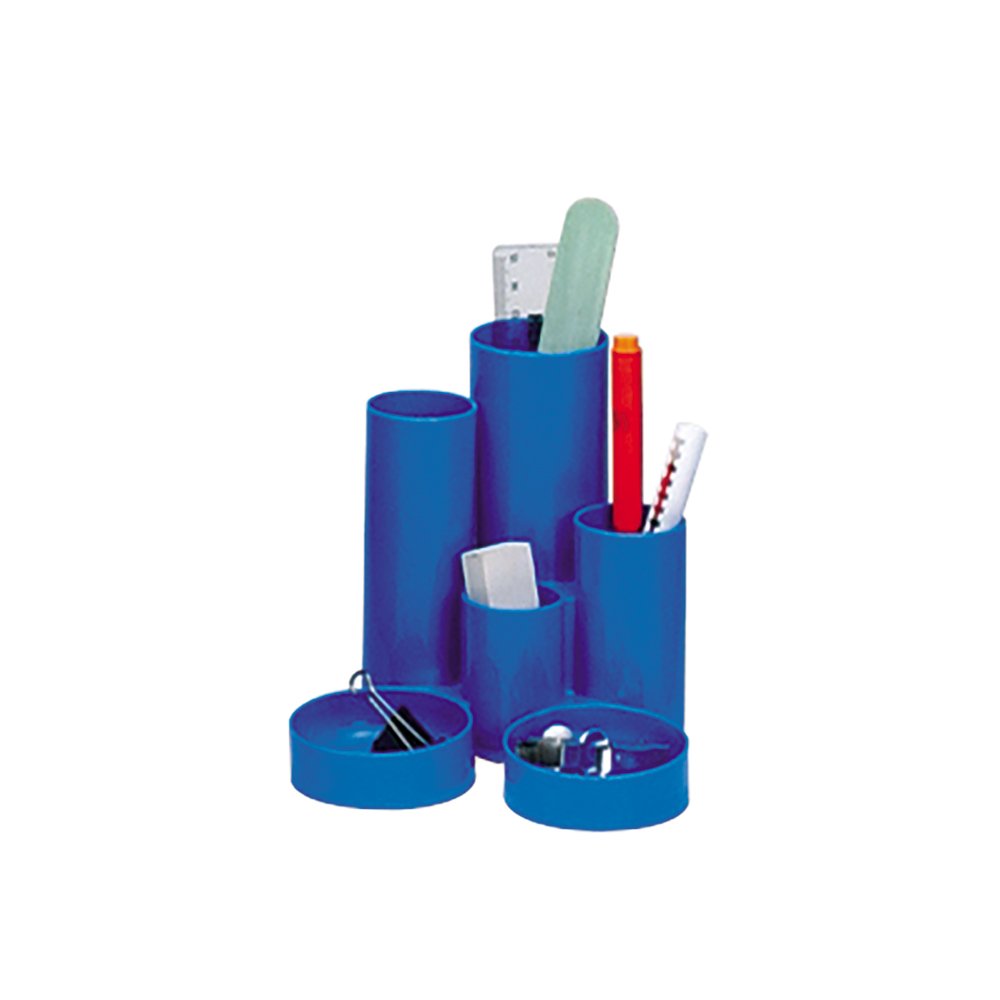 Business Desk Tidy with 6 Compartment Tubes Blue