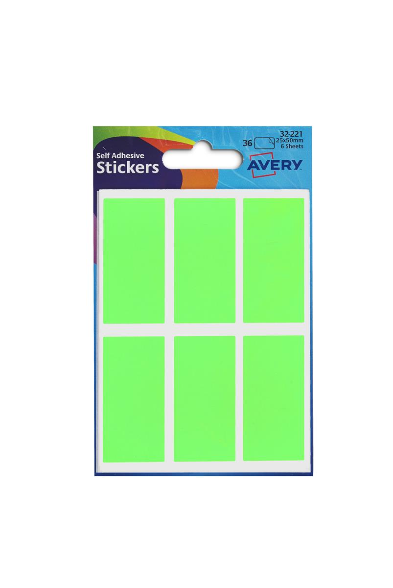Image for Avery Packets of Labels 25x50mm Fluorescent Green Ref 32-221 [10x36 Labels]