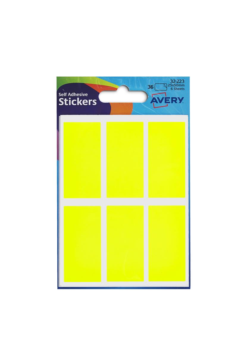 Image for Avery Packets of Labels 25x50mm Fluorescent Yellow Ref 32-223 [10x36 Labels]