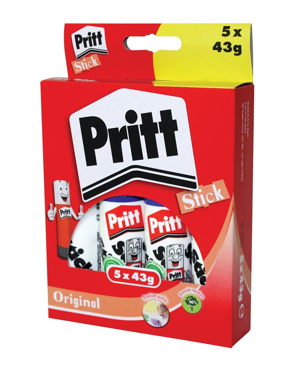 Image for Pritt Stick Glue Solid Washable Non-toxic Large 43g Ref 1456072 [Pack 5]