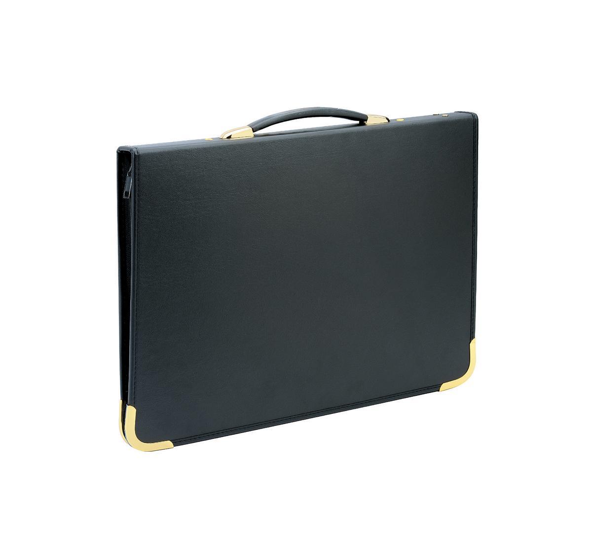 Image for Presentation Case Vinyl Metal Trim Capacity 25 Sleeves 3 Ring A3 Black