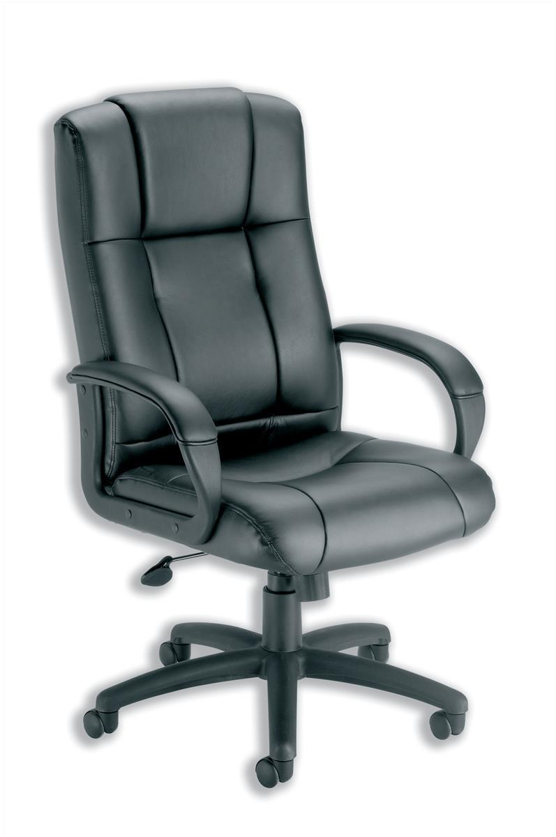 Image for Trexus Intro Sussex Manager Chair Back H670mm W530xD520xH500-600mm Leather Black