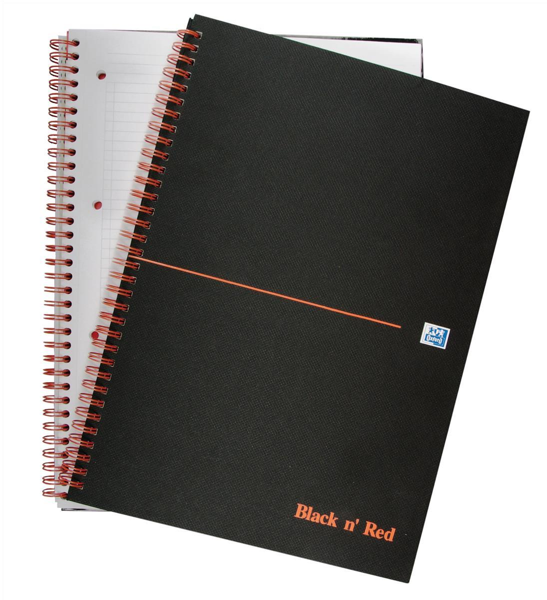 Black n Red Book Wirebound Ruled and Perforated 90gsm 140pp A4 Matt Black Ref 100080173 [Pack 5]