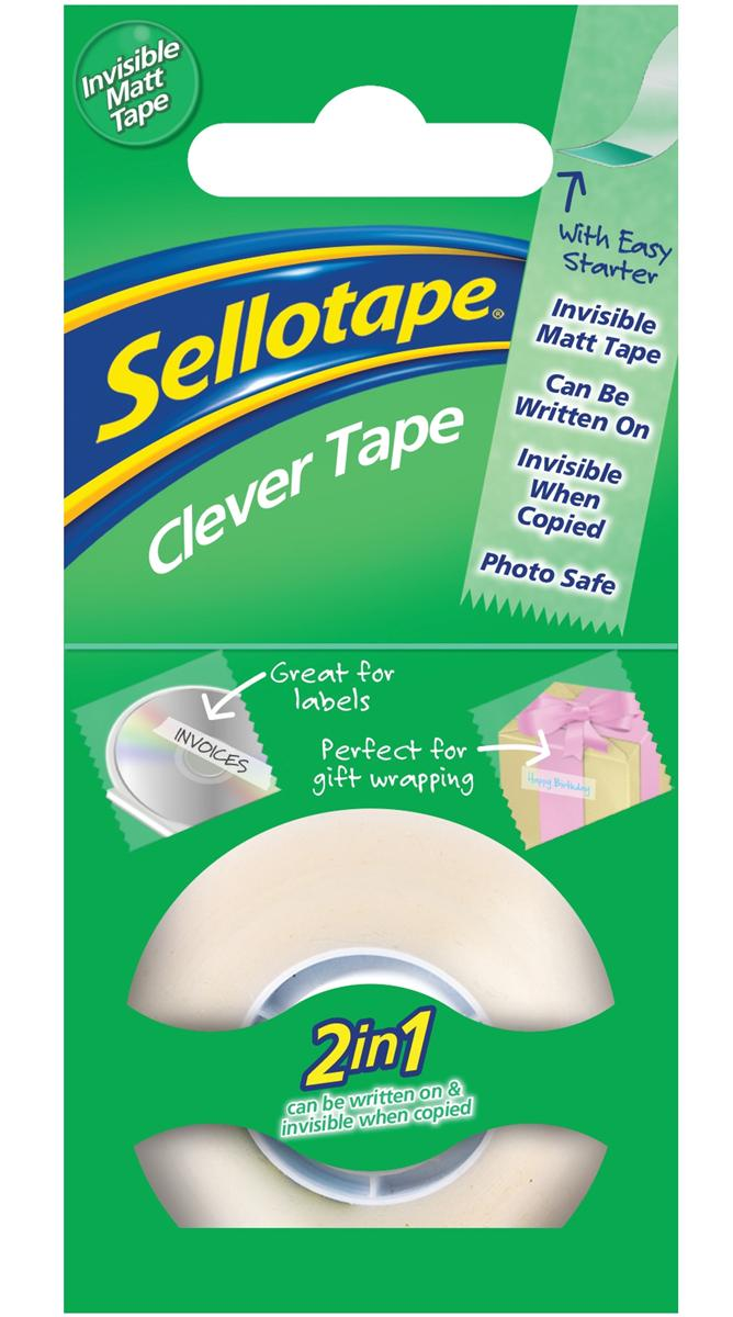 Image for Sellotape Clever Tape Roll Write-on Copier-friendly Tearable 18mmx25m Matt Ref 1444600 [Pack 8]