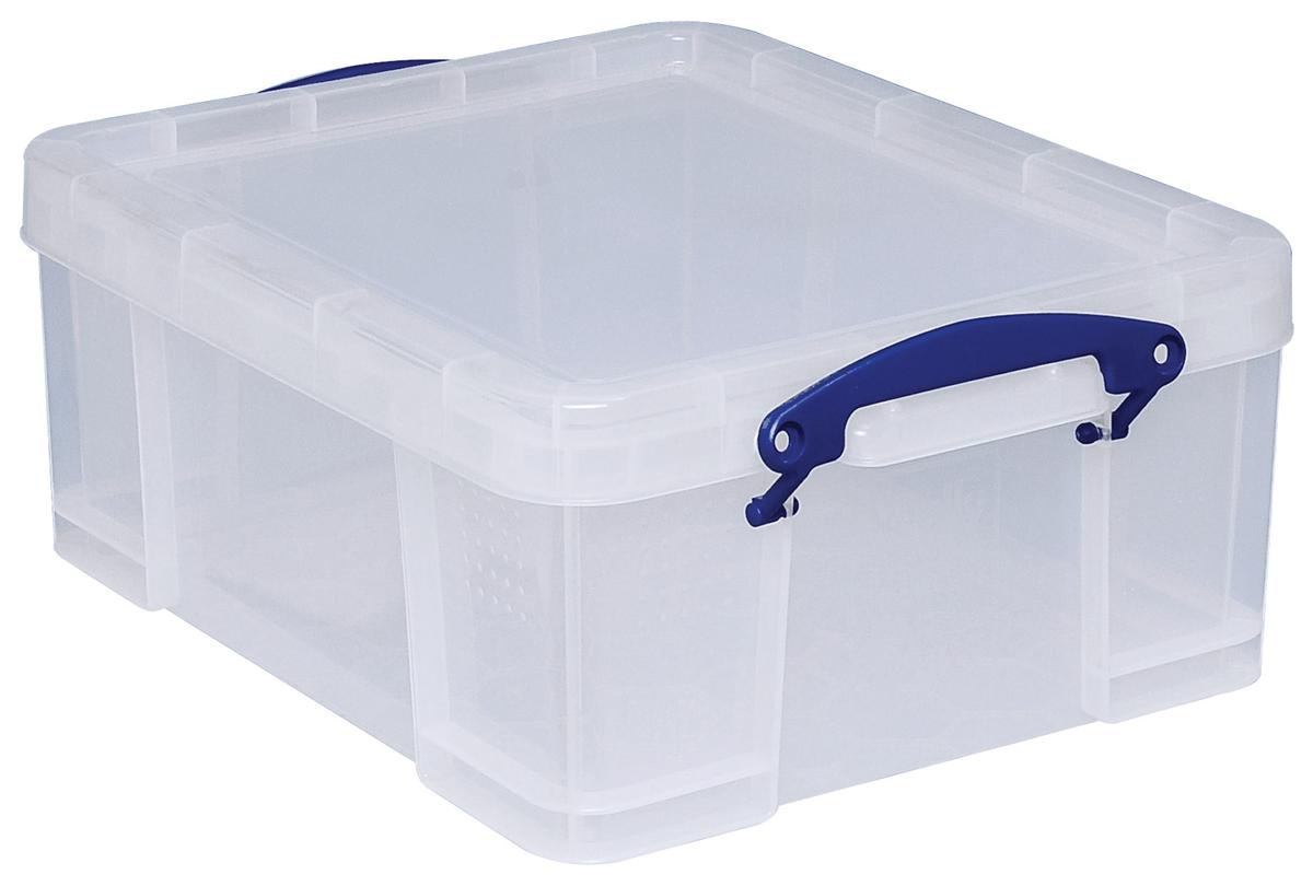 Image for Really Useful Storage Box Plastic Lightweight Robust Stackable 18 Litre W390xD480xH200mm Clear Ref 18C