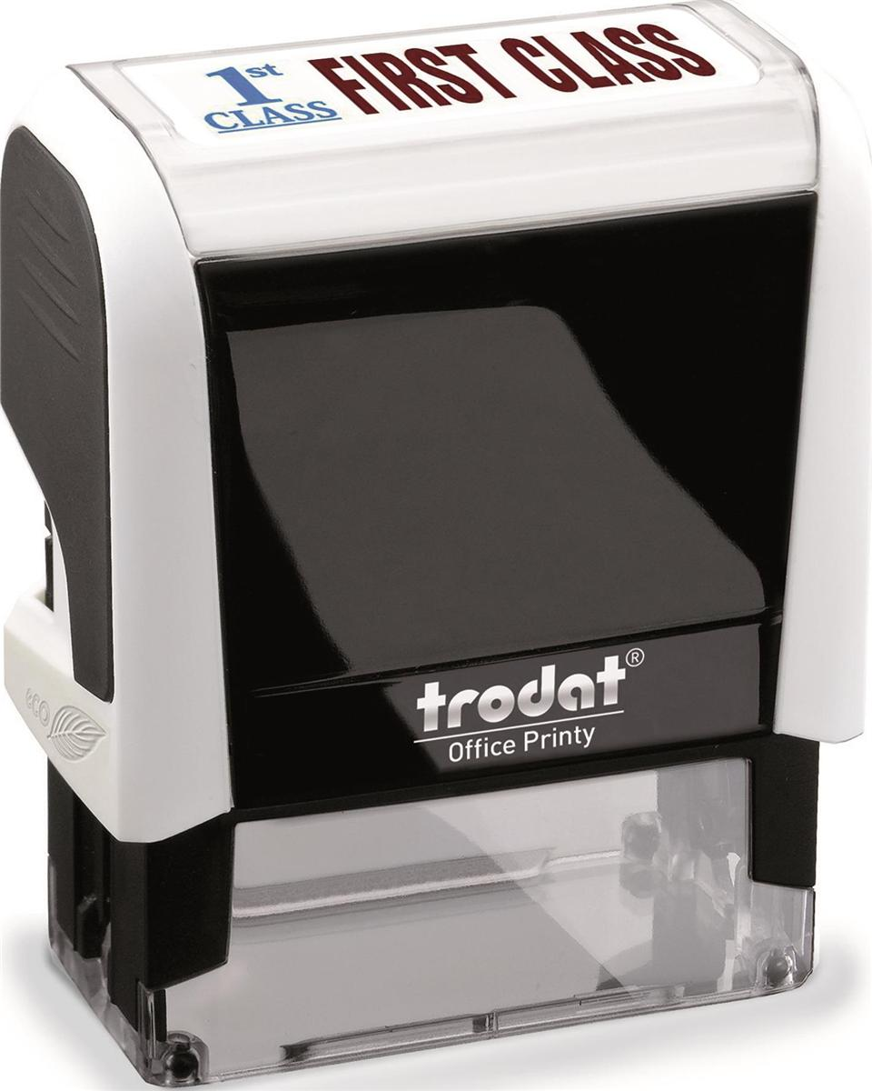 Image for Trodat Office Printy Stamp Self-inking First Class 18x46mm Reinkable Red and Blue Ref 43242