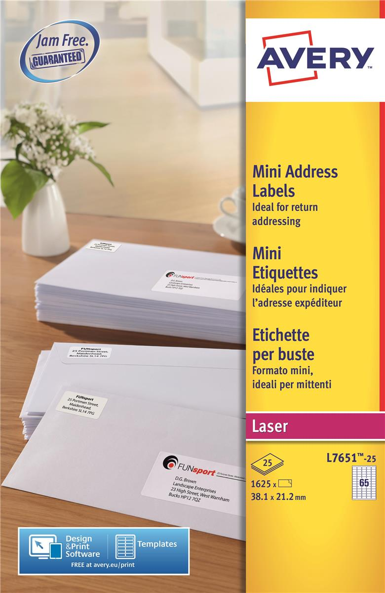 Image for Avery Mini Labels Laser 65 per Sheet 38.1x21.2mm White Ref L7651-25 [1625 Labels]