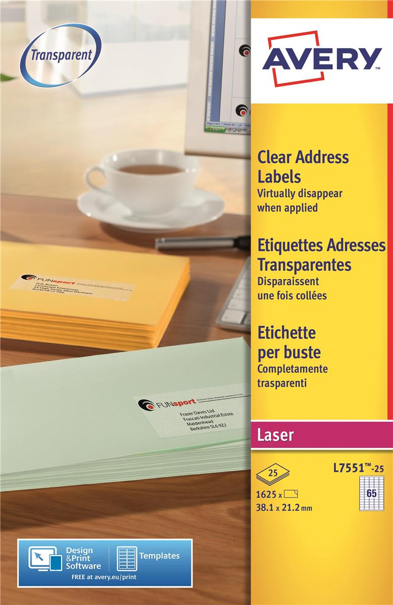 Image for Avery Mini Labels Laser 65 per Sheet 38.1x21.2mm Clear Ref L7551-25 [1625 Labels]