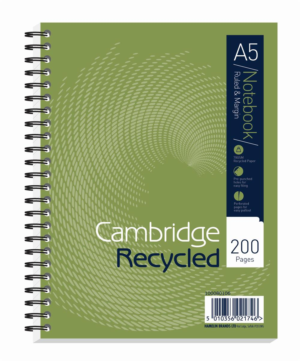 Image for Cambridge Notebook Recycled Wirebound Ruled Margin 200pp 80gsm A5 Green Ref 100080106 [Pack 3]