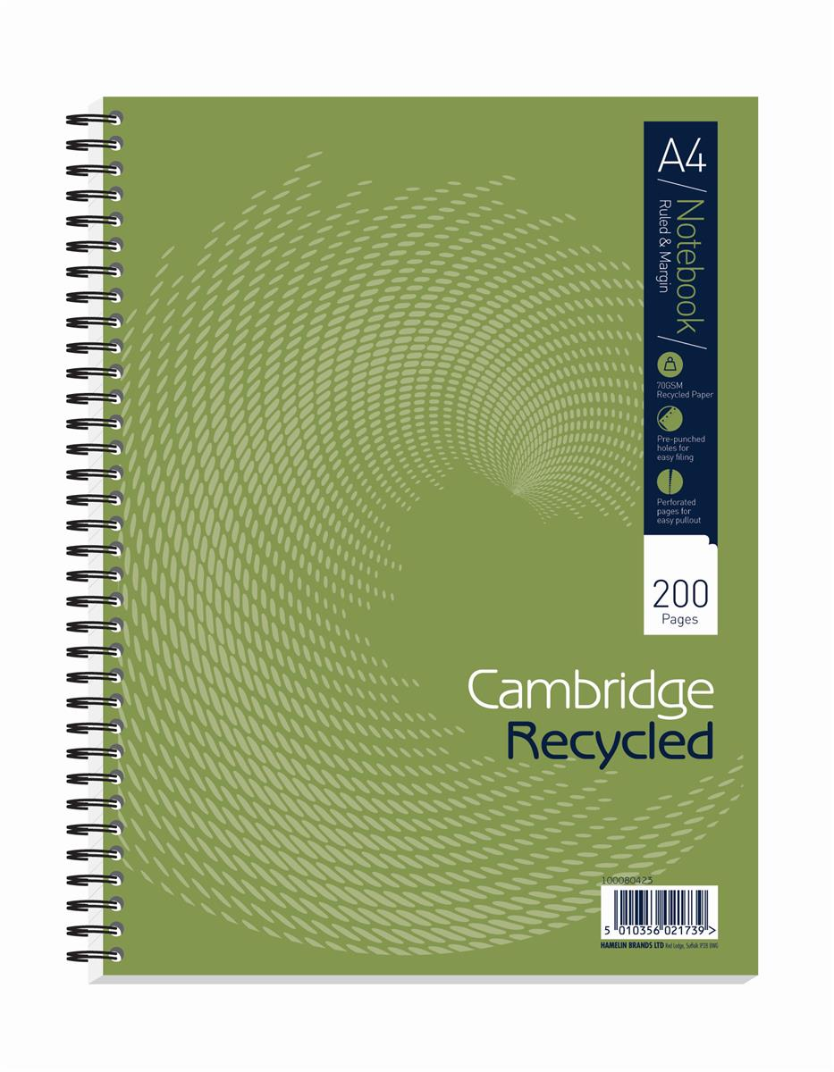 Image for Cambridge Notebook Recycled Wirebound Ruled Margin 200pp 80gsm A4 Green Ref 100080423 [Pack 3]