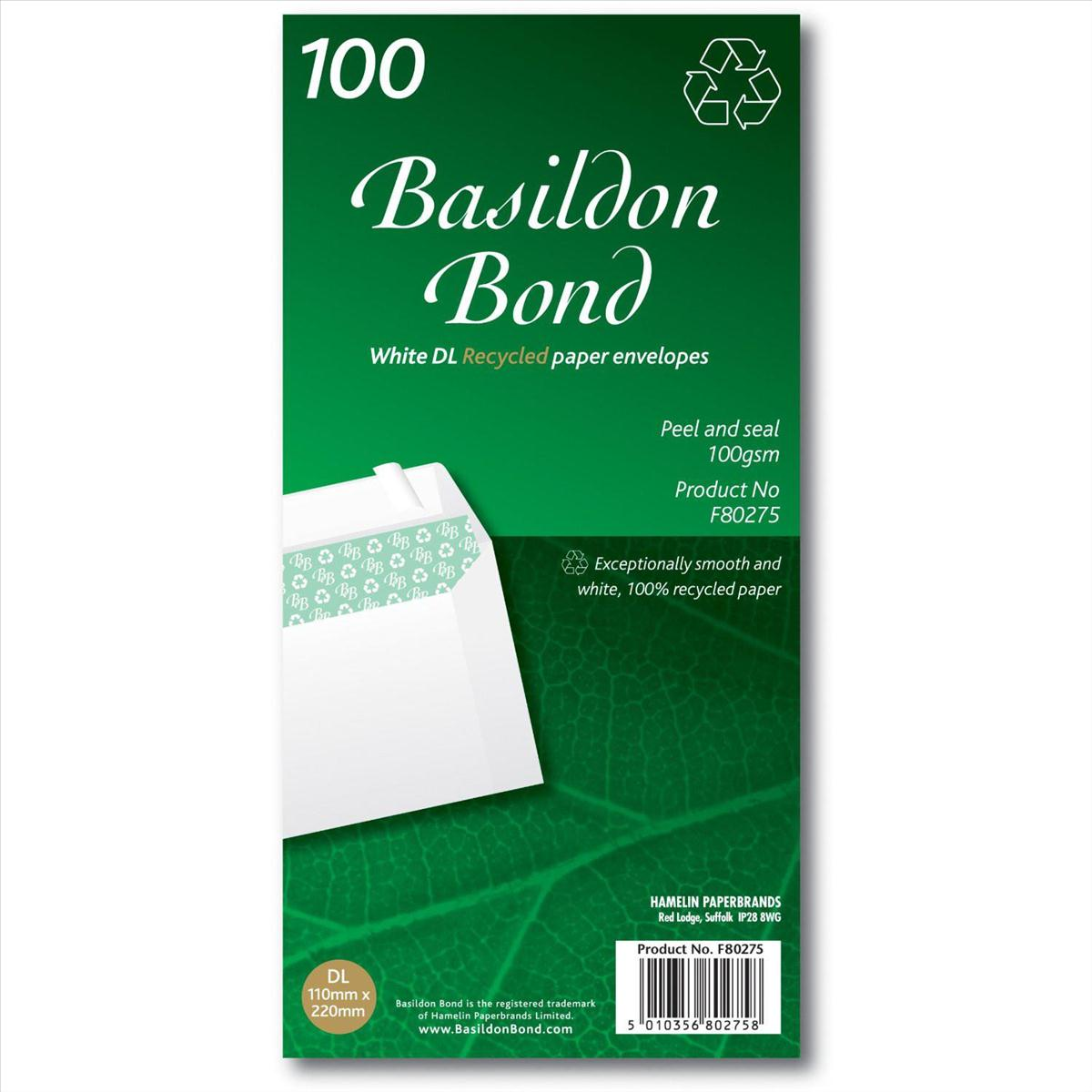 Image for Basildon Bond Envelopes Recycled Wallet Peel and Seal 120gsm DL White Ref F80275 [Pack 100]