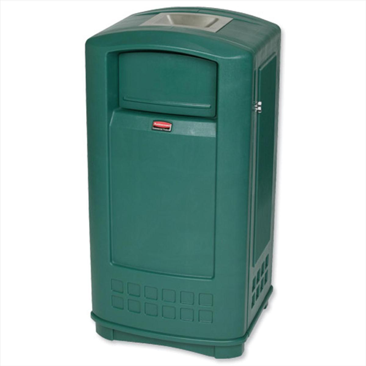 Image for Rubbermaid Landmark Bin Durable Plastic with Ashtray Spring-loaded Doors 189.1 Litre Green Ref 3965-58