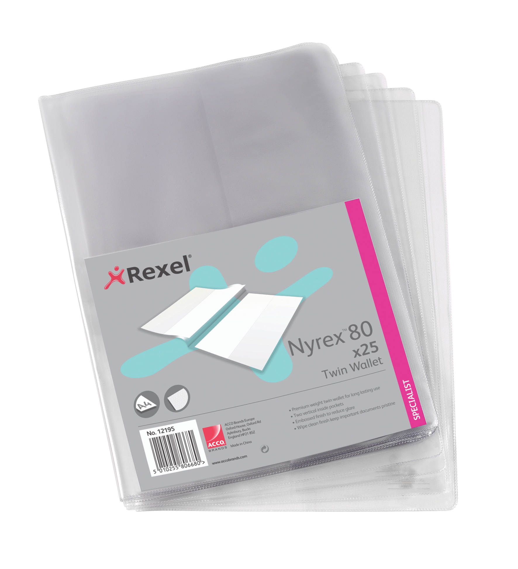 Rexel Nyrex 80 Twin Wallet with 2 Vertical Inside Pockets A4 Clear Ref 12195 [Pack 25]
