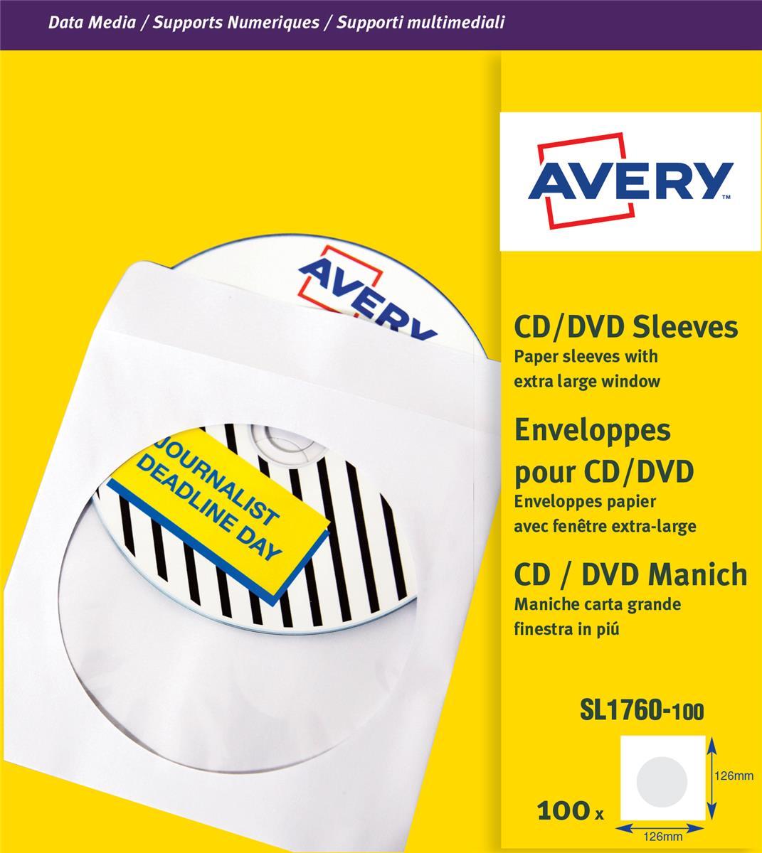 Avery CD/DVD Paper Sleeves 126x126mm White Ref SL1760-100 [Pack 100]