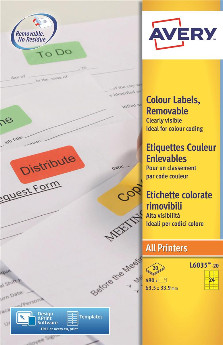 Image for Avery Coloured Labels Laser 24 per Sheet 63.5x33.9mm Yellow Ref L6035-20 [480 Labels]