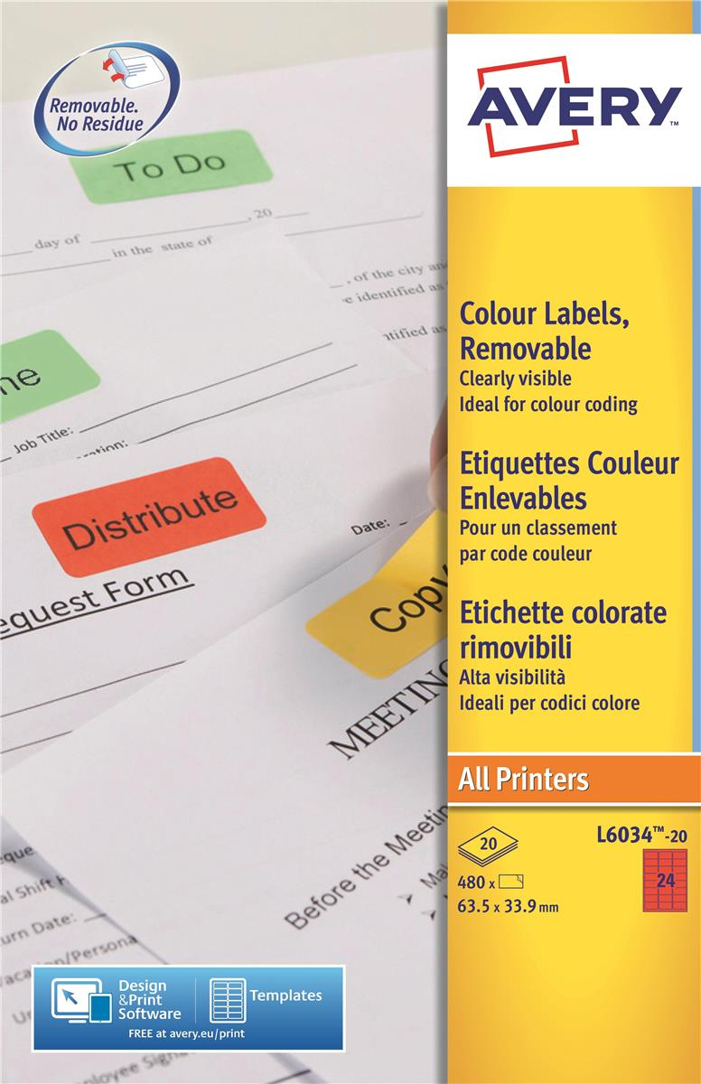 Image for Avery Coloured Labels Laser 24 per Sheet 63.5x33.9mm Red Ref L6034-20 [480 Labels]