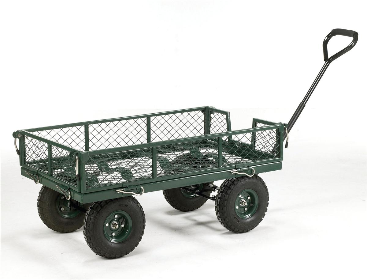 Image for Barton Toptruck Four Sided Mesh Platform Capacity 250kg Pneumatic Wheels Green Ref TT4S