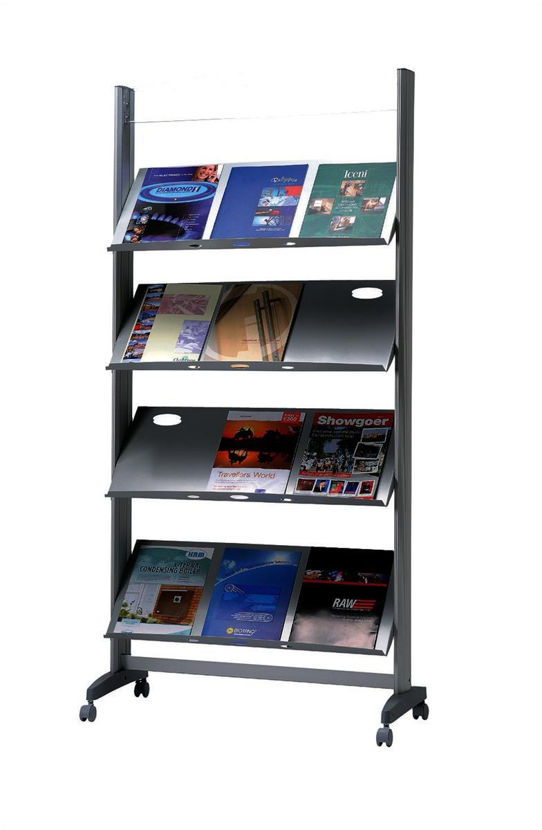 Image for Fast Paper Literature Display Mobile 1 Sided 4 Metal Shelves 38mm Lip Ref 257TM.35