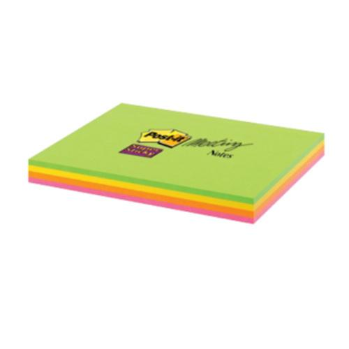 Image for Post-it Super Sticky Meeting Notes Pads of 45 Sheets 149x98.4mm Bright Colours Ref 6445-SSP [Pack 4]