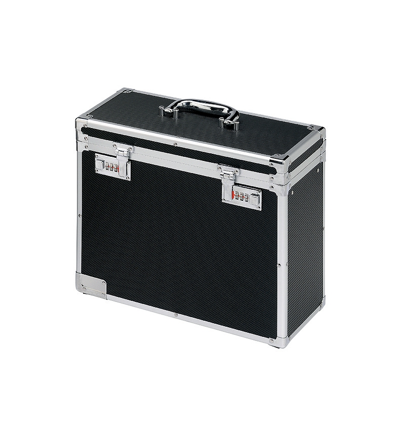 Image for Personal Filing Case Robust Lockable A4 Black and Chrome