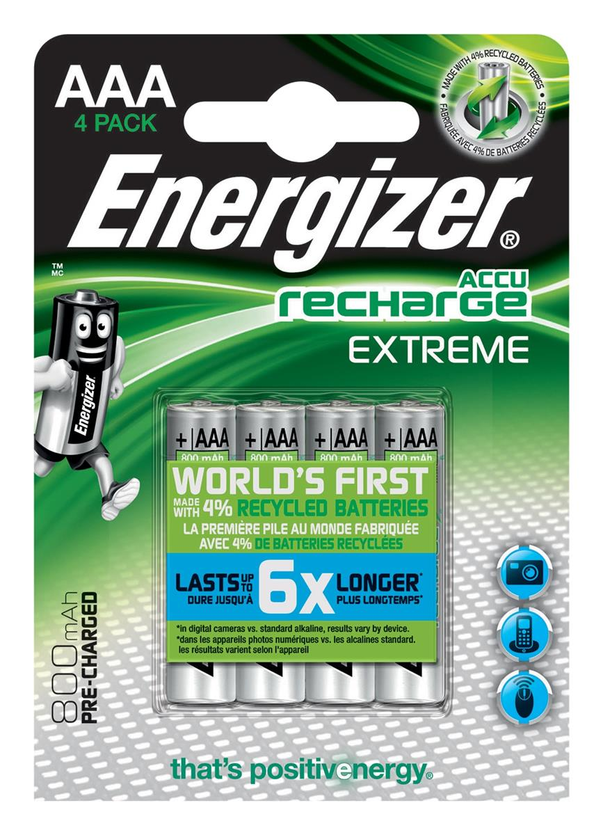 Image for Energizer Battery Rechargeable Advanced NiMH Capacity 800mAh LR03 1.2V AAA Ref E300624400 [Pack 4]