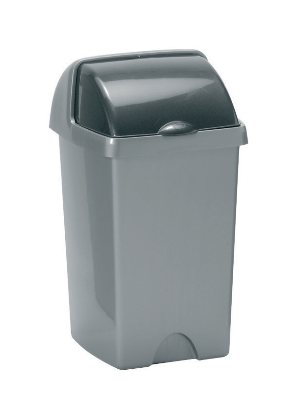 Image for Addis Roll Top Bin Plastic 25 Litres Metallic Silver