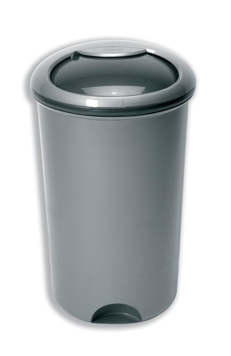 Image for Addis Rotating Lid Bin Plastic 50 Litre Metallic Silver