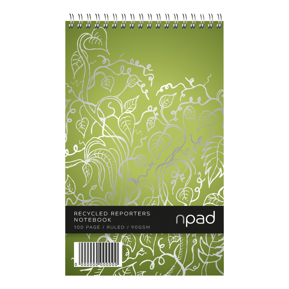 Cambridge Shorthand Notebook Recycled Wirebound Ruled Margin 120pp A5Plus Green Ref 100080120 [Pack 10]
