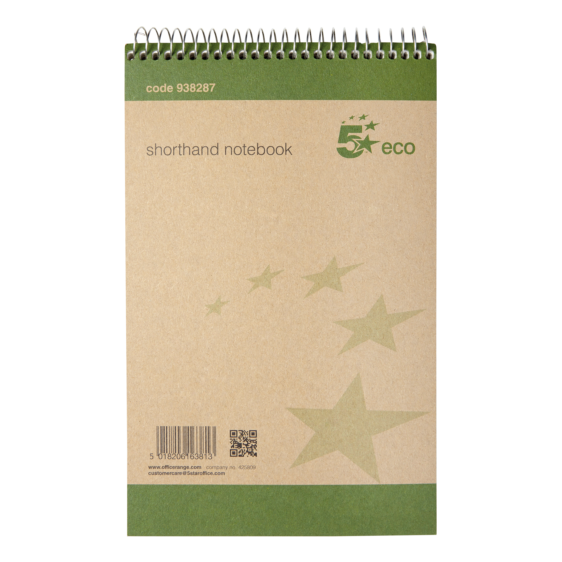 Image for 5 Star Eco Shorthand Pad Wirebound 70gsm Ruled 160pp 127x200mm Green [Pack 10]