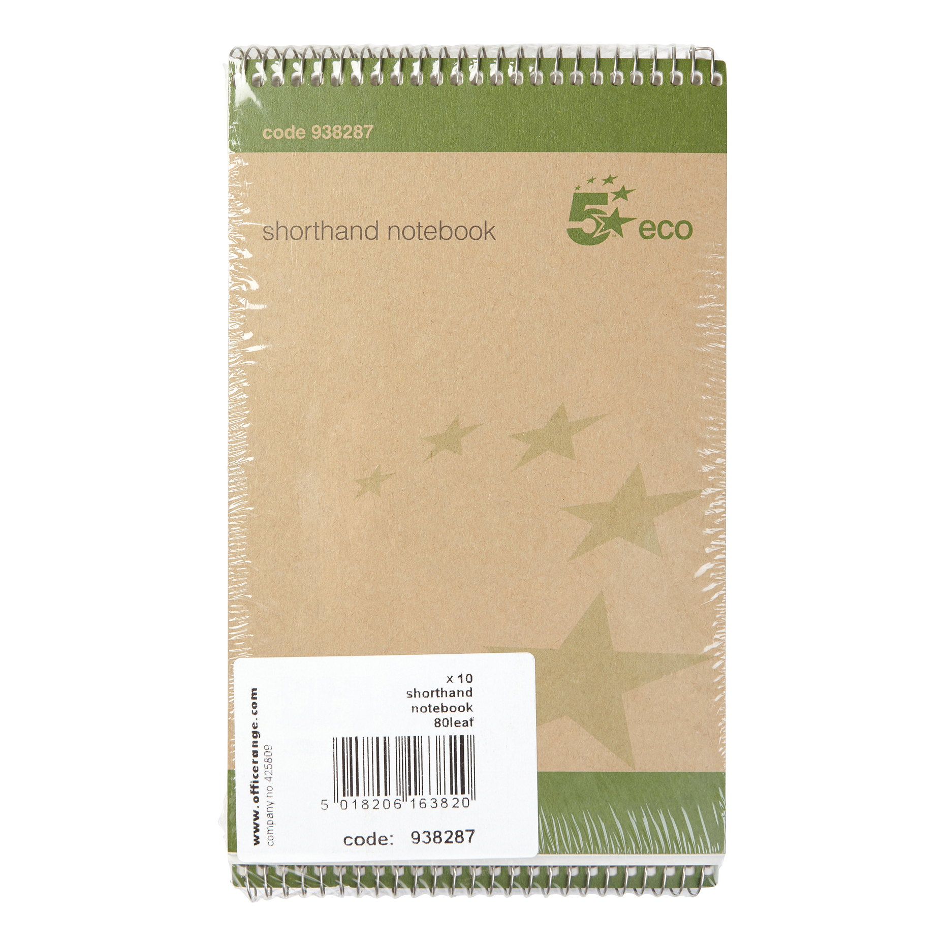 5 Star Eco Shorthand Pad Wirebound 70gsm Ruled 160pp 127x200mm Green Pack 10