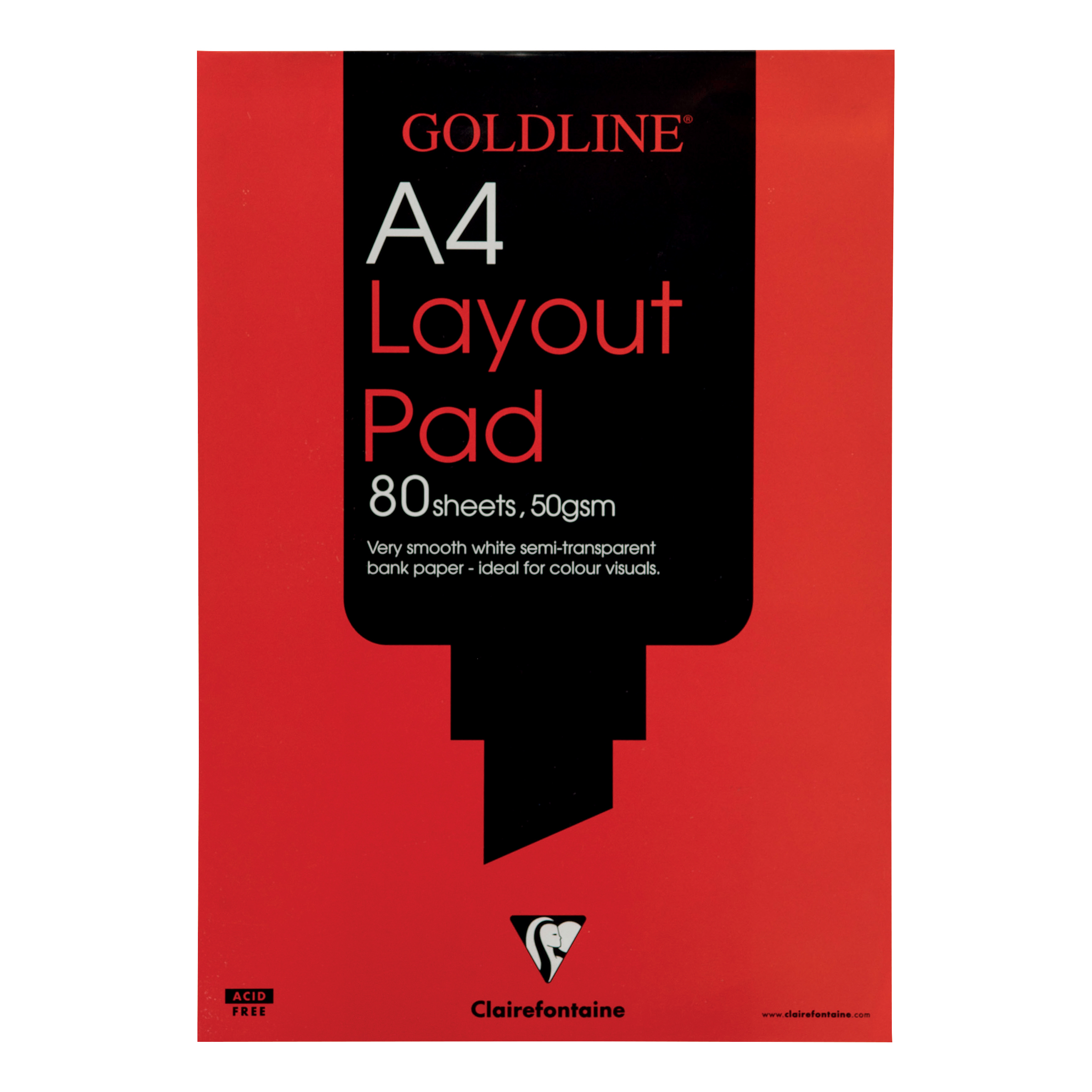 Image for Clairefontaine Goldline A4 White 80 Sheet 50gsm Acid-Free Paper Layout Pad GPL1A4