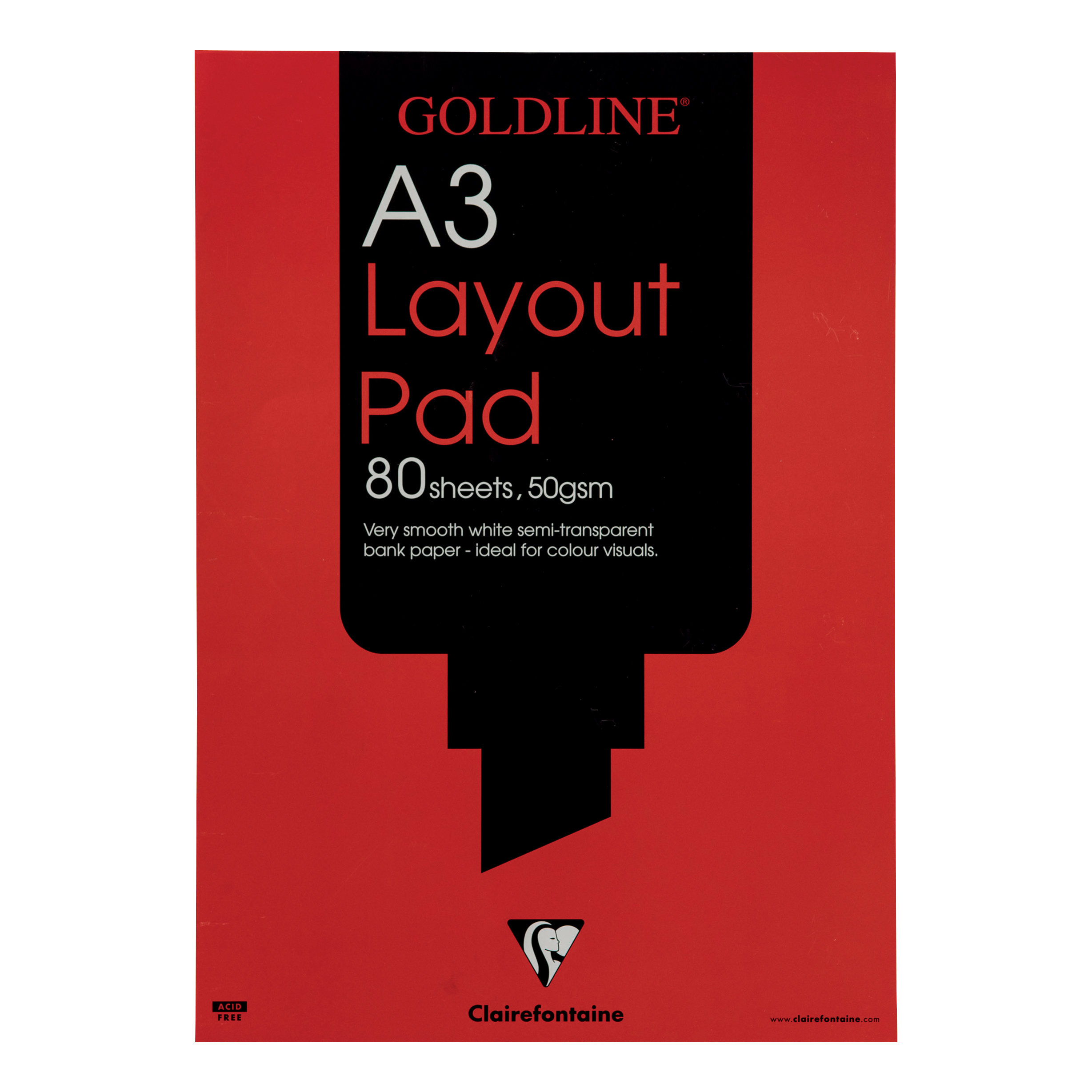 Paper pads or notebooks Goldline Layout Pad 50gsm Acid-free Paper 80 Sheets A3 White Ref GPL1A3Z Pack 5