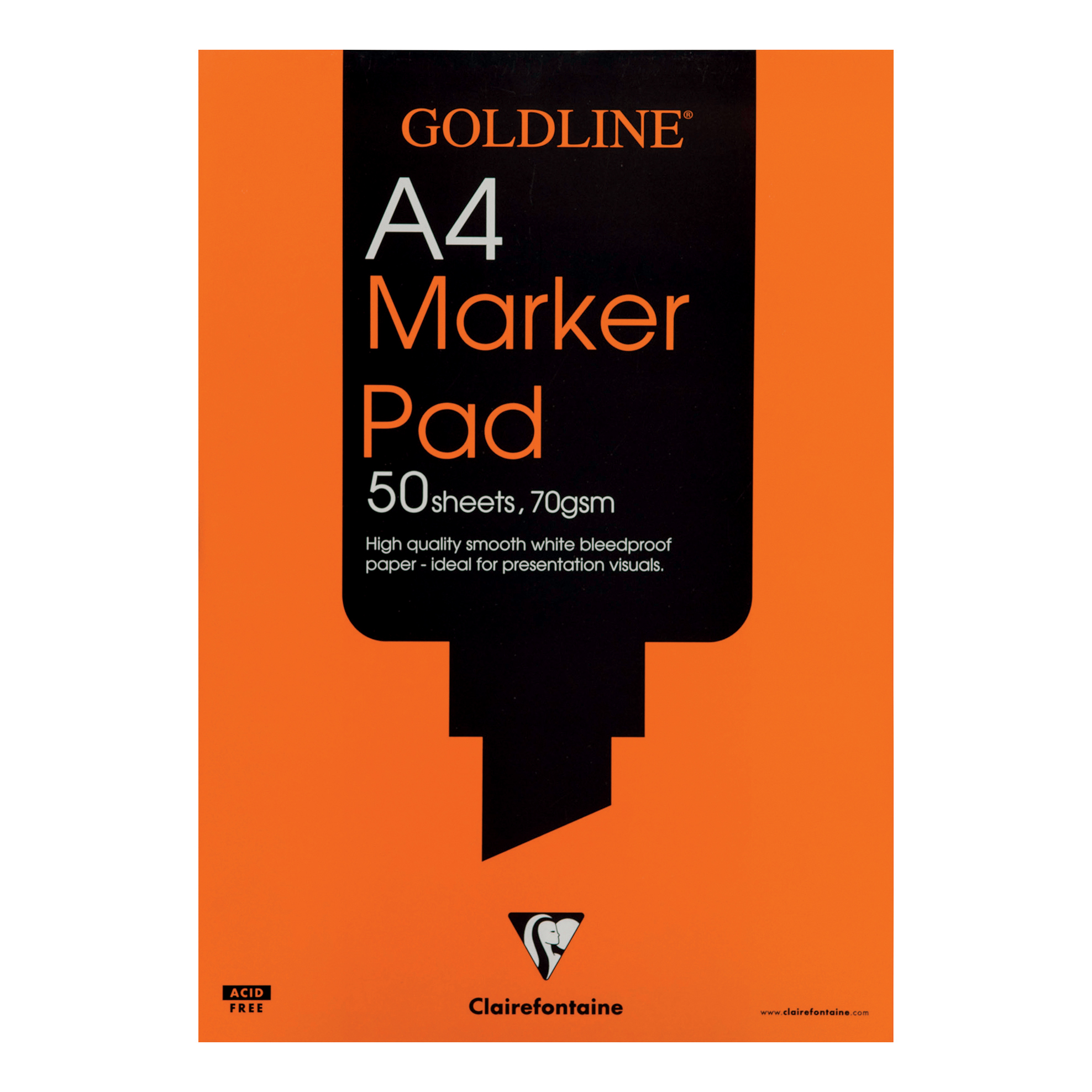 Paper pads or notebooks Goldline Bleedproof Marker Pad 70gsm Acid-free Paper 50 Sheets A4 White Ref GPB1A4Z Pack 5