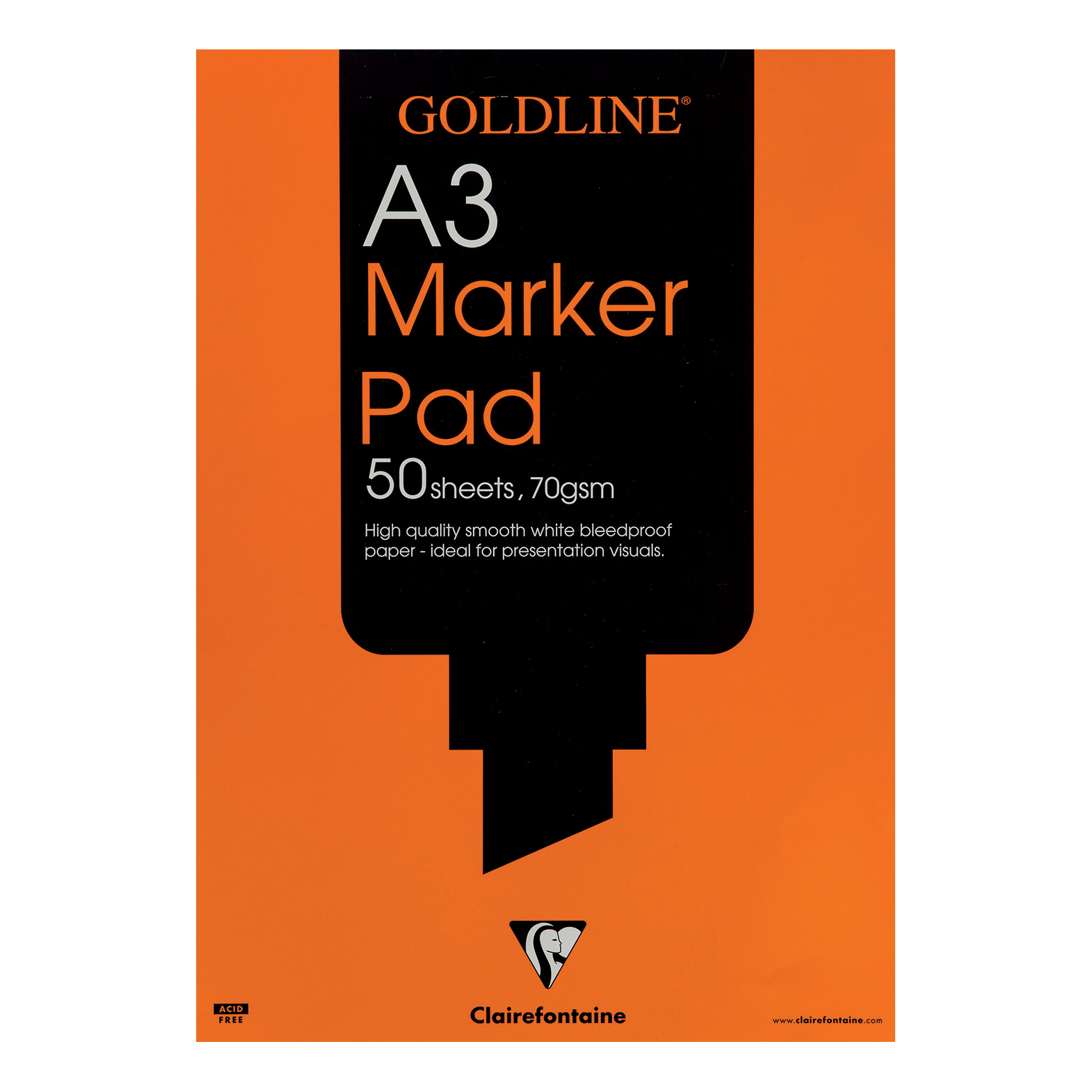 Paper pads or notebooks Goldline Bleedproof Marker Pad 70gsm Acid-free Paper 50 Sheets A3 White Ref GPB1A3Z Pack 5