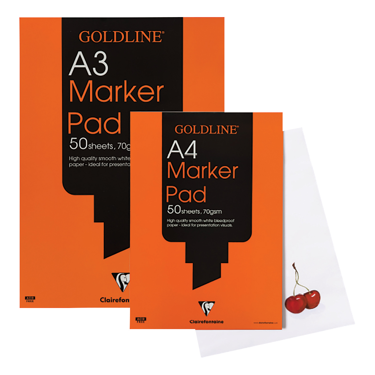 Goldline Bleedproof Marker Pad 70gsm Acid-free Paper 50 Sheets A3 White Ref GPB1A3Z Pack 5