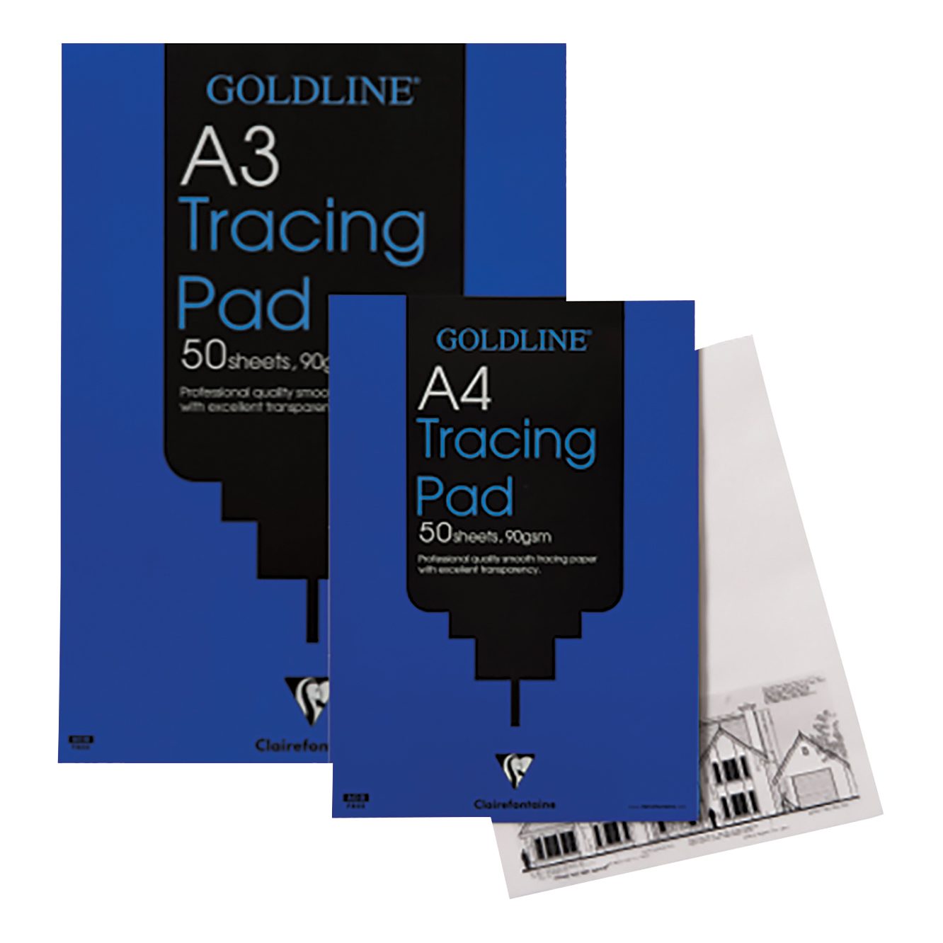 Goldline Professional Tracing Pad 90gsm Acid-free Paper 50 Sheets A3 Ref GPT1A3Z Pack 5
