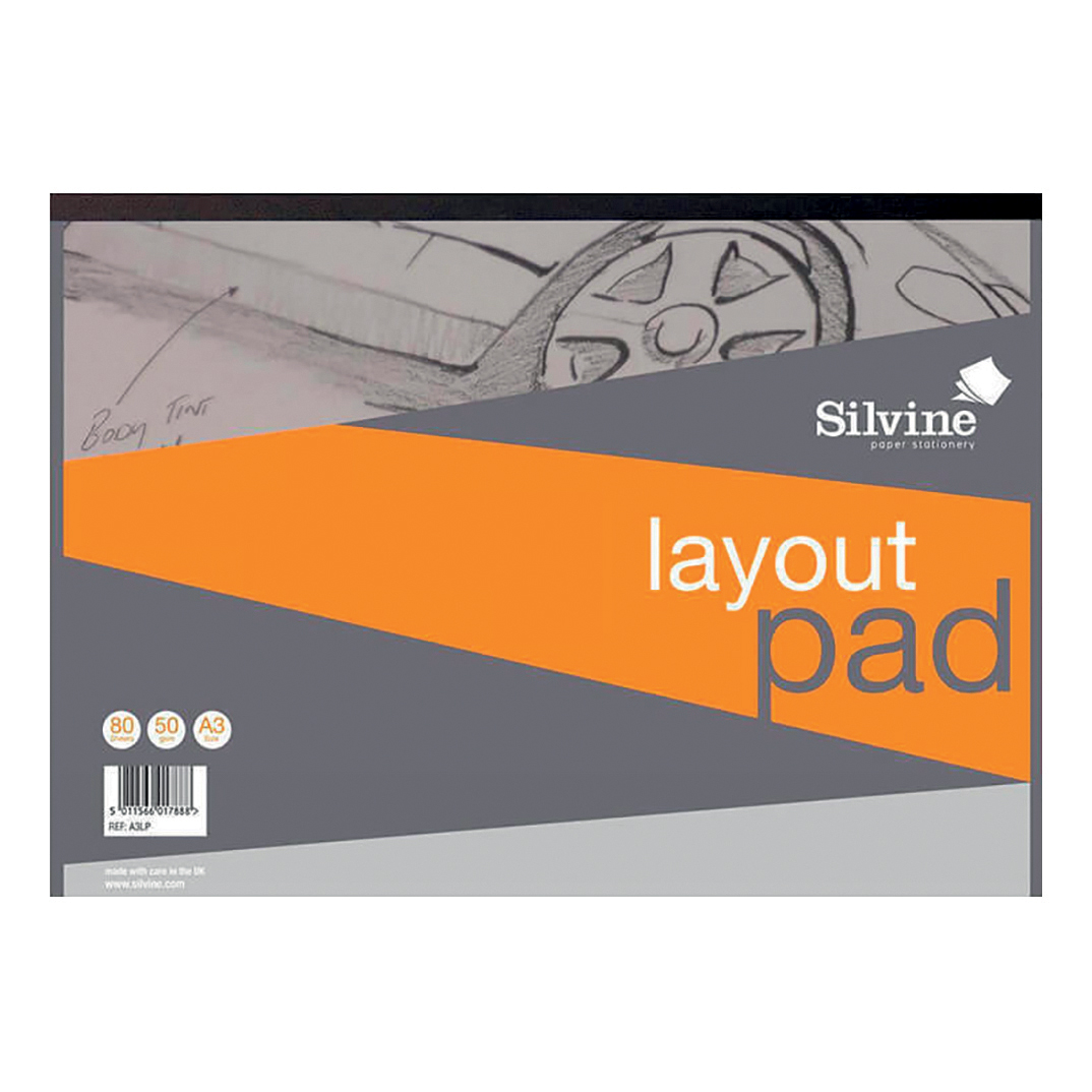 Silvine Layout Pad Bank Paper Acid Free 50gsm 50 Sheets A3