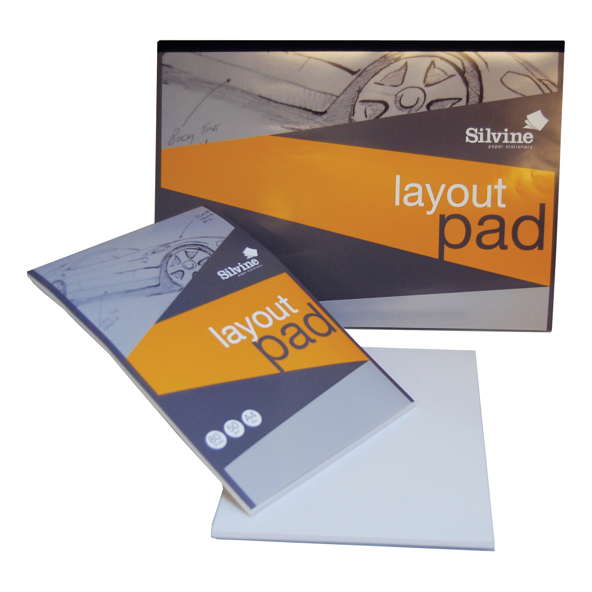 Silvine Layout Pad 50gsm Acid-free Paper 80 Sheets A3 White A3LP