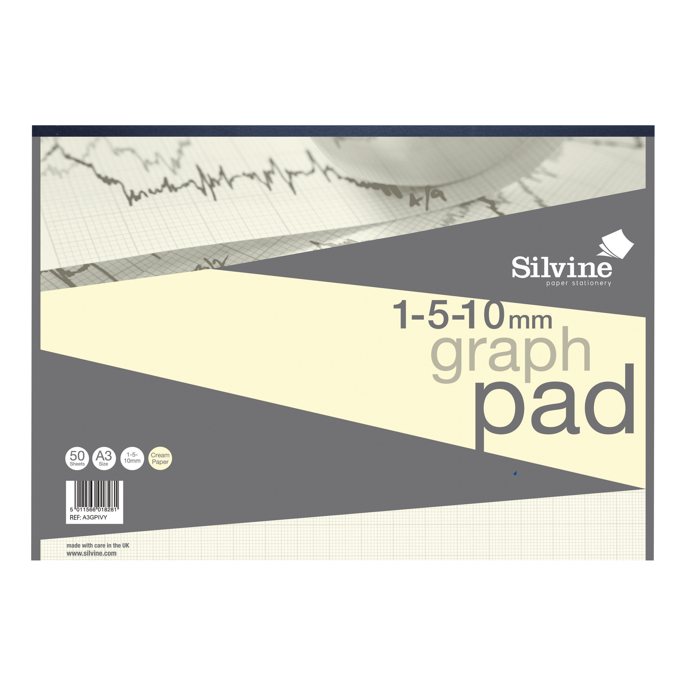 Silvine Designer Graph Pad 85gsm 1mm 5mm 10mm Grid 50 Sheets A3 Cream Wove Ref A3GPIVY COMPETITION