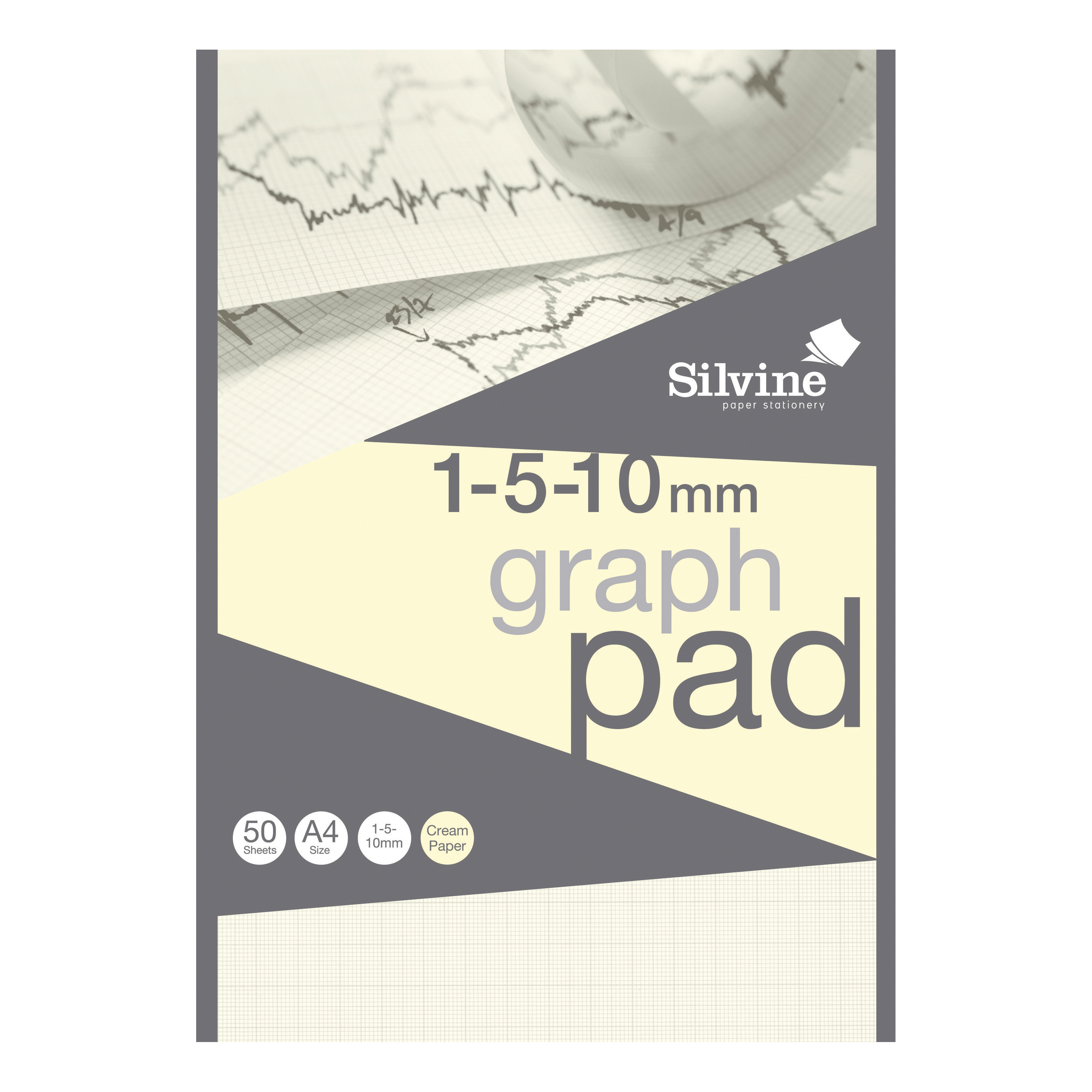 Silvine Designer Graph Pad 85gsm 1mm 5mm 10mm Grid 50 Sheets A4 Cream Wove Ref A4GPIVY [COMPETITION]