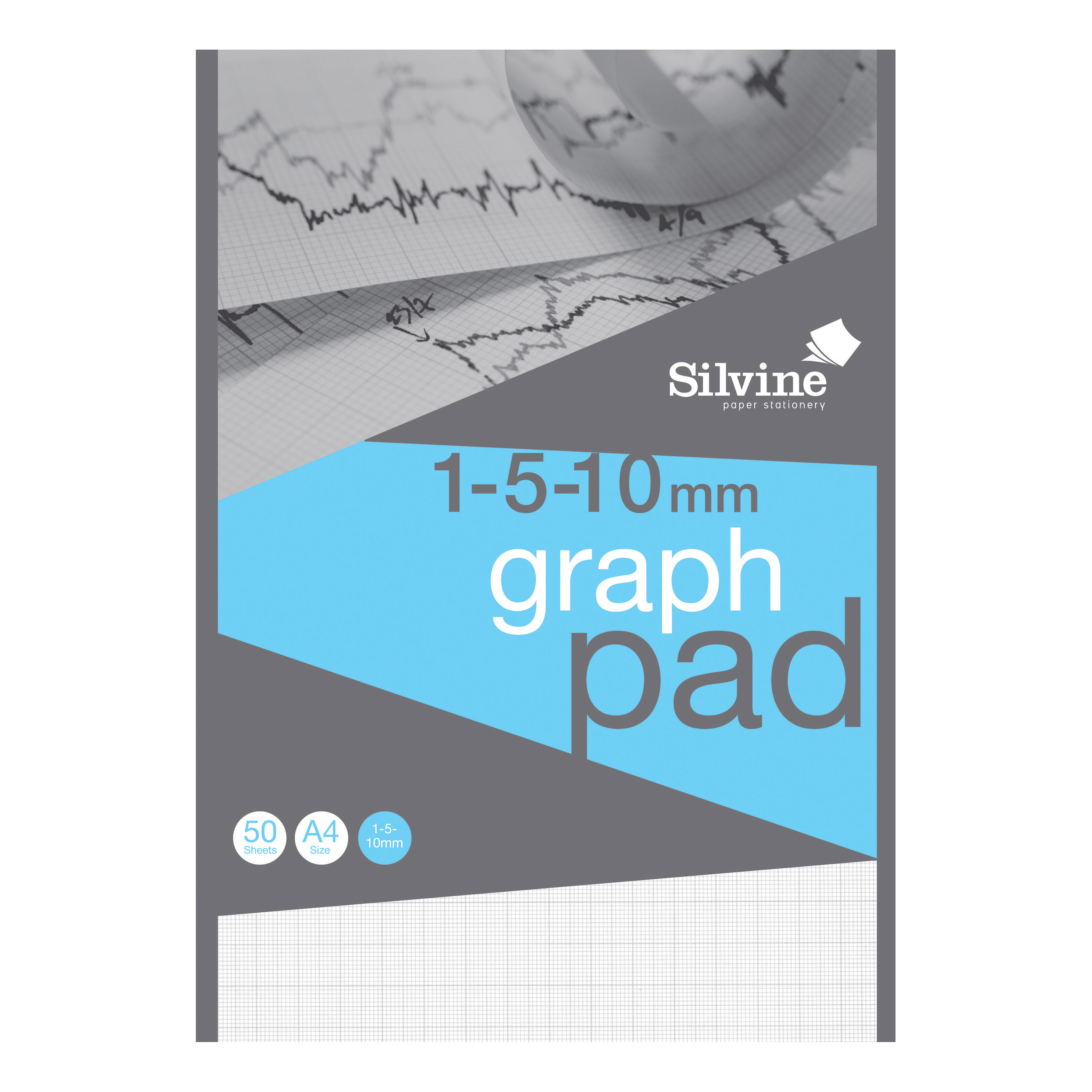 Silvine Student Graph Pad 90gsm 1mm 5mm 10mm Grid 50 Sheets A4 Ref A4GP1510 [Pack 10] [COMPETITION]