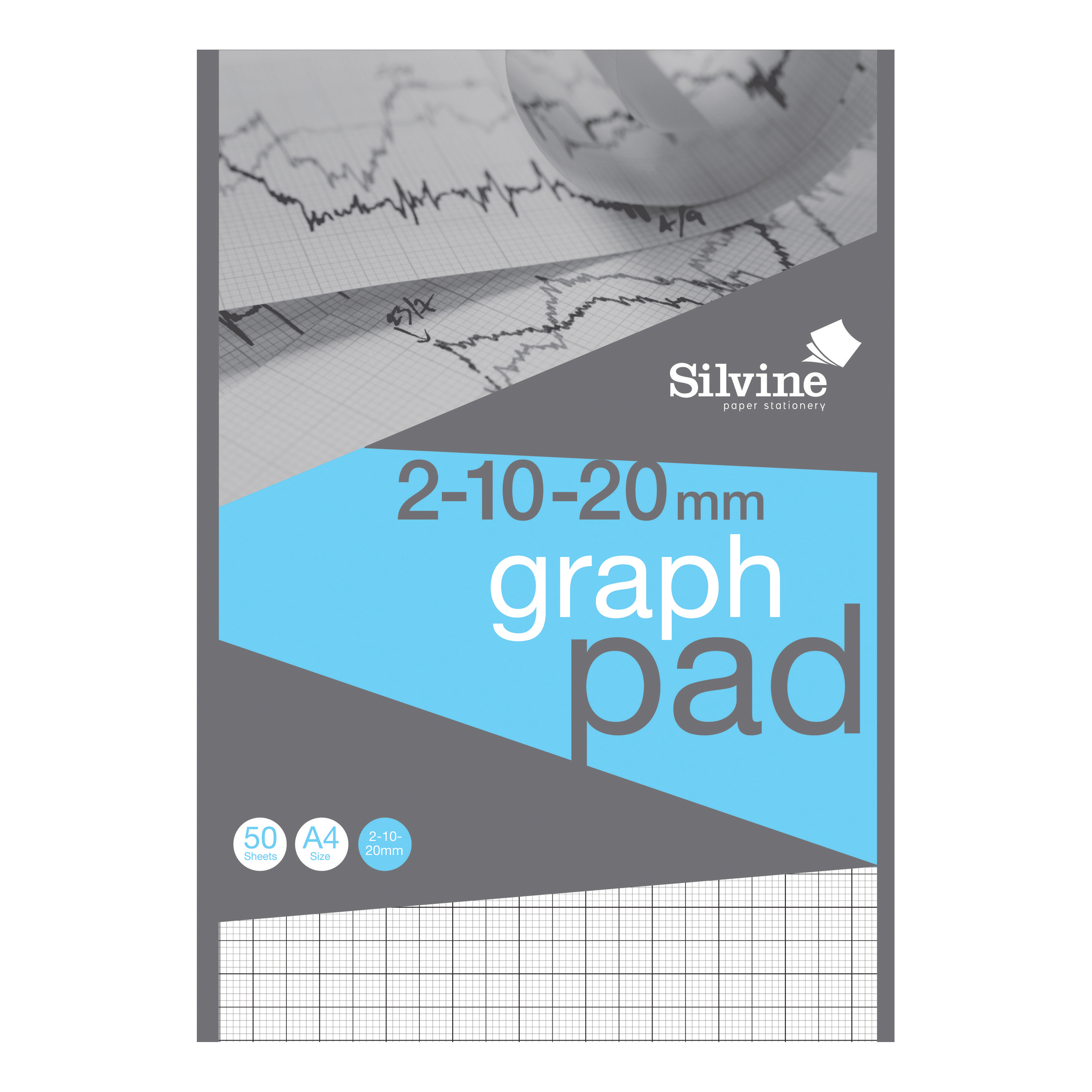 Silvine Student Graph Pad 90gsm 2mm 10mm 20mm Grid 50 Sheets A4 Ref A421020 [Pack 10] [COMPETITION]